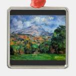 Paul Cezanne - soporte St Victoire Adorno Navideño Cuadrado De Metal