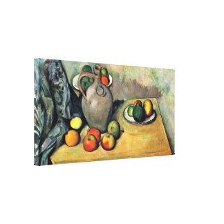 Paul Cezanne - Still Jug and Fruit on a Table Canvas Print