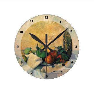 Paul Cezanne- Still life, bottle of rum Round Wallclock
