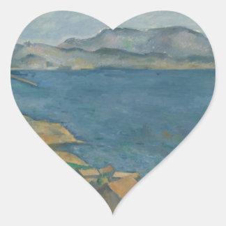Paul Cézanne - The Bay of Marseilles Heart Sticker