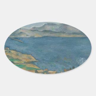 Paul Cézanne - The Bay of Marseilles Oval Sticker