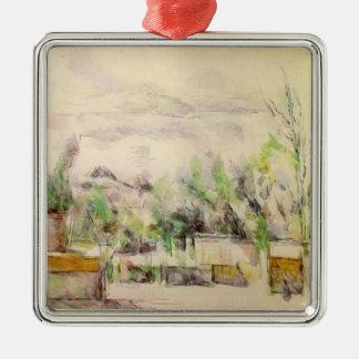 Paul Cezanne- The Garden Terrace at Les Lauves Christmas Tree Ornaments
