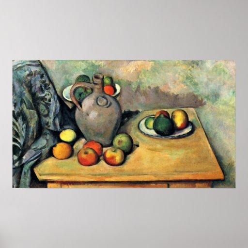 Paul Cezanne - todavía jarro y fruta en una tabla Impresiones