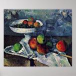 Paul Cezanne - todavía vida con el cuenco de fruta Impresiones
