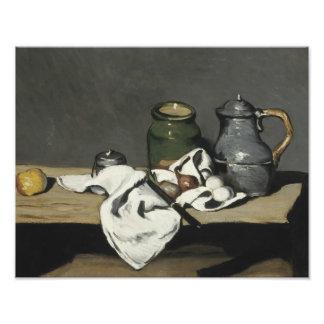 Paul Cezanne - todavía vida con la caldera Fotografía