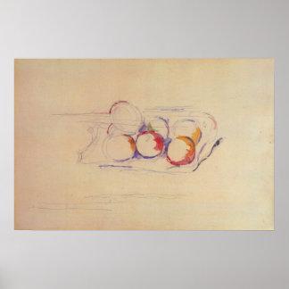 Paul Cezanne - todavía vida con las manzanas en un Poster
