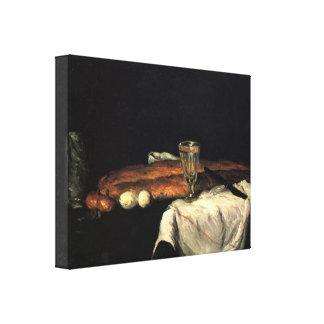 Paul Cezanne - todavía vida con pan y huevos Impresión De Lienzo