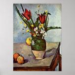 Paul Cezanne - todavía vida de tulipanes y de manz Posters