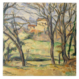 Paul Cezanne - Trees and Houses Tile