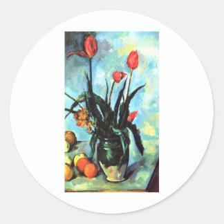 Paul Cezanne - Vase of Tulips Classic Round Sticker
