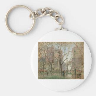 Paul Cornoyer, Rainy Day, Madison Square, New York Basic Round Button Keychain