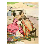Paul Dombey and Florence on the beach at Brighton Postcard