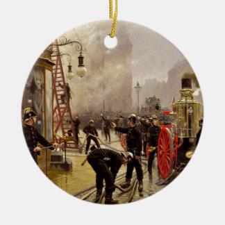 Paul Fischer: A Fire on Kultorvet Double-Sided Ceramic Round Christmas Ornament