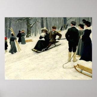 Paul Fischer - Snow Sled Ride in Sondermarken Poster
