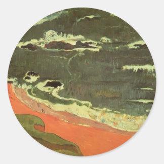 Paul Gauguin- Beach at Le Pouldu Round Sticker