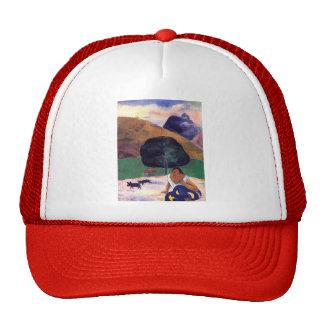 Paul Gauguin- Black pigs and a crouching Tahitian Trucker Hat