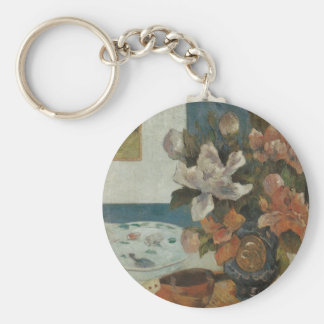 Paul Gauguin, Chinese Peonies and Mandolin Basic Round Button Keychain