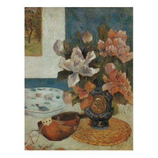 Paul Gauguin, Chinese Peonies and Mandolin Postcard