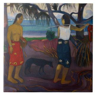 Paul Gauguin - debajo del Pandanus Azulejo Cuadrado Grande