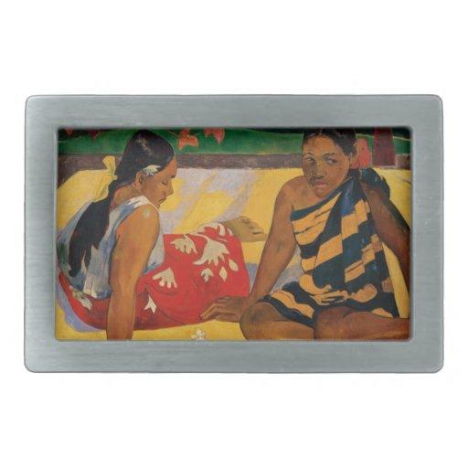 Paul Gauguin dos mujeres de vintage de Tahití Hebilla Cinturon Rectangular