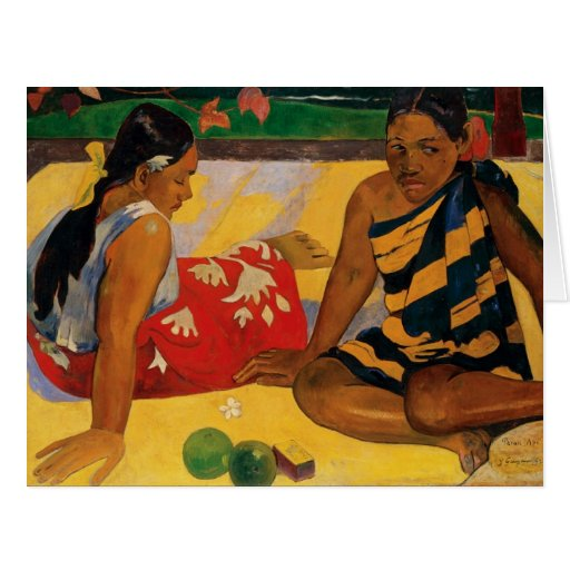 Paul Gauguin dos mujeres de vintage de Tahití Tarjeta De Felicitación Grande