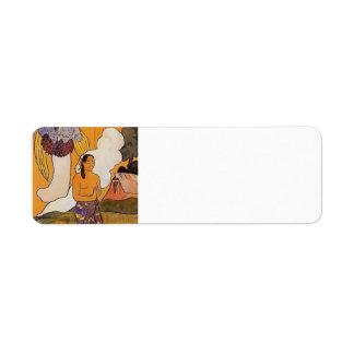 Paul Gauguin- el encuentro Etiqueta De Remite
