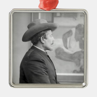 Paul Gauguin  in front of his canvases Metal Ornament