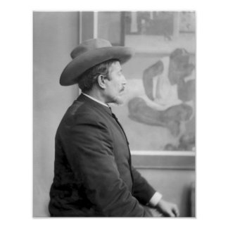 Paul Gauguin  in front of his canvases Poster