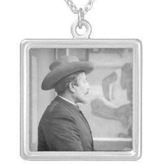Paul Gauguin  in front of his canvases Silver Plated Necklace