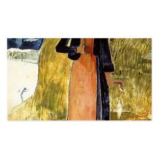 Paul Gauguin-Jeanne d Arc or Breton girl spinning Business Card Template