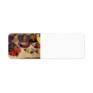 Paul Gauguin- la comida (los plátanos) Etiqueta De Remitente