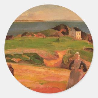 Paul Gauguin- Landscape at Le Pouldu Round Sticker