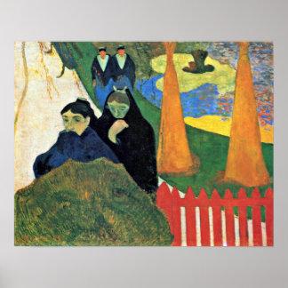 Paul Gauguin - las criadas pasan a través de un ja Póster