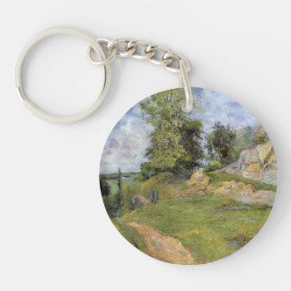 Paul Gauguin- Quarries at Pontoise II Single-Sided Round Acrylic Keychain