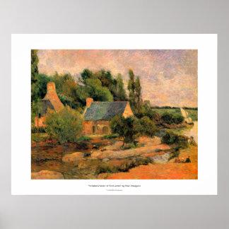 Paul Gauguin que pinta a lavanderas en el arte de Poster