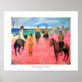 Paul Gauguin riders on beach horsemen horses art Poster