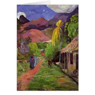 Paul Gauguin- Road in Tahiti Greeting Cards