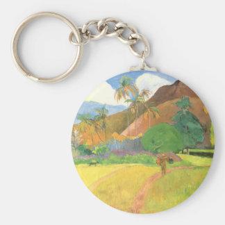 Paul Gauguin, Tahitian Landscape, Mountains Tahiti Basic Round Button Keychain