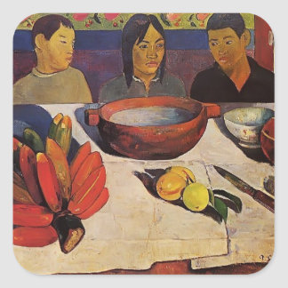Paul Gauguin- The Meal (The Bananas) Square Stickers