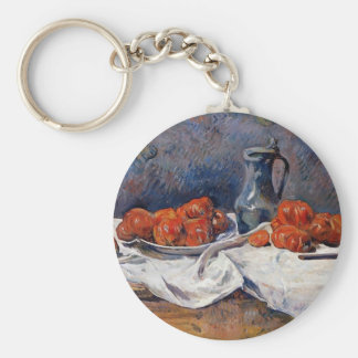 Paul Gauguin- Tomatoes & pewter tankard on table Basic Round Button Keychain