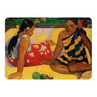 Paul Gauguin Two Women Of Tahiti Parau Api Vintage 5x7 Paper Invitation Card