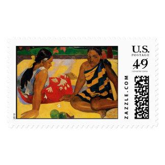 Paul Gauguin Two Women Of Tahiti Parau Api Vintage Stamp