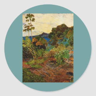 Paul Gauguin's Martinique Landscape (1887) Classic Round Sticker