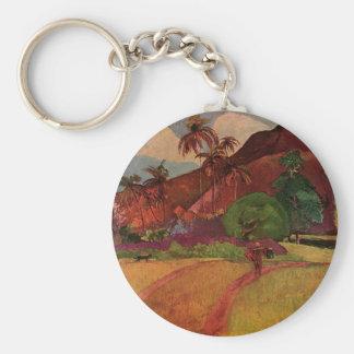 Paul Gauguin's Tahitian Landscape (1893) Basic Round Button Keychain