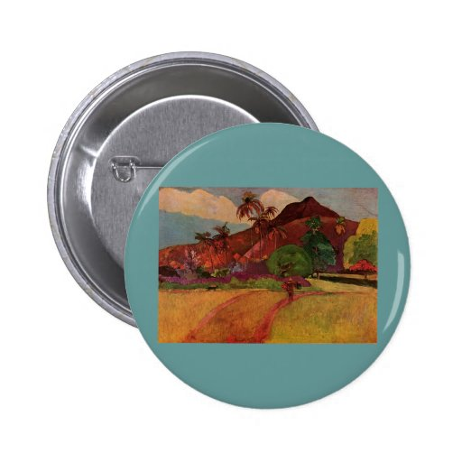 Paul Gauguin's Tahitian Landscape (1893) Pinback Buttons