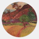 Paul Gauguin's Tahitian Landscape (1893) Classic Round Sticker