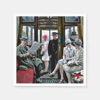 Paul-Gustave Fischer art - Copenhagen Tram Standard Cocktail Napkin