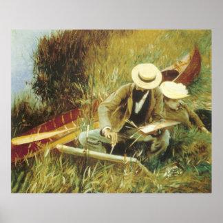 Paul Helleu que bosqueja John Singer Sargent Posters