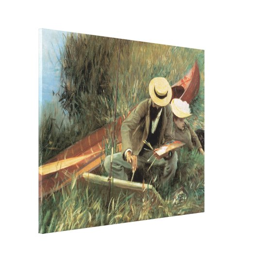 Paul Helleu Sketching with His Wife by Sargent Canvas Print