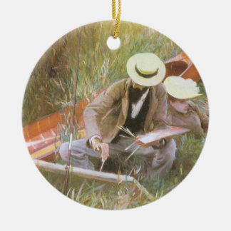 Paul Helleu Sketching with His Wife by Sargent Ceramic Ornament